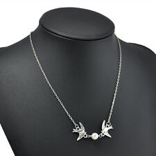 Fashion Korean Style Silver Plated Double Swallow Pearl Bib Statement Necklace