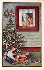 Christmas Postcard Angel Watching Boy Play With a Trolley & Other Toys~108970