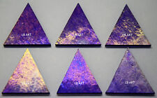 "6 Iridized Cobalt Blue 1 1/2"" Tall Triangles 3mm Bullseye 90 Coe Fusible Glass"