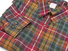 Brooks Brothers 346 Red/Orange/Green Plaid Non-Iron Button Down Shirt, XL