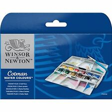 Winsor & Newton Cotman Water Colours Pocket Plus Paint Set 12 Half Pans