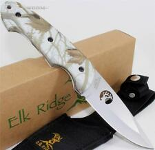 Elk Ridge Hardwood Snow Blind Camo Full Tang Hunter Hunting Skinning Knife NEW