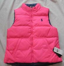 RALPH LAUREN girls kids Lrg 12 14 neon pink navy blue reversible puffer vest
