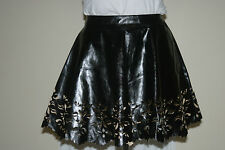MISS BNWT Black PU Faux Leather SKATER Mini SKIRT uk10 eu36 us6 Waist w27in w69c