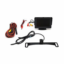 "Water Proof Rear View License Plate Camera w Hidden Bracket + 4.3"" LCD Monitor"