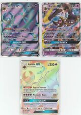 3x LOT Pokemon SUN & MOON Gx + Secret + Full Art LUNALA 153/149 + 141/149 + 66