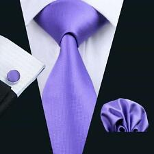 NEW ITALIAN DESIGNER LILAC PURPLE SILK TIE, HANKY & CUFFLINKS