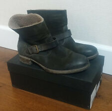 N.D.C. NDC made by hand dk green suede shearling biker boots 41 US 10-10.5 VGUC