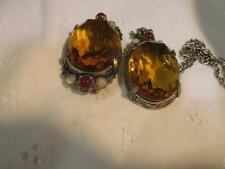 MIRACLE OVAL FACETTED AMBER GLASS- 1 BROOCH & 2 PENDANTS