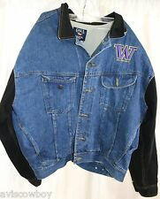 Galt Crew NCAA UW Huskies Denim Jean Varsity Letterman Bomber Jacket Men's XL