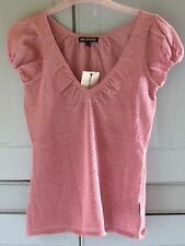 NEW Genuine DKNY Jeans Metallic Pink V Neck Short Sleeve Top Small UK 6