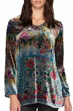 NWT JOHNNY WAS WISH TUNIC VELVET TOP FLORAL LONG SLEEVE M