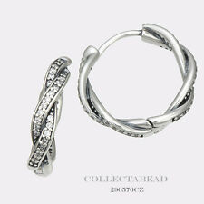 Authentic Pandora Sterling Silver Twist of Fate Clear CZ Hoop Earrings 290576CZ