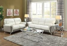 Modern 2 piece Sofa Couch Loveseat Set Love Seat Living Room White Grey Leather