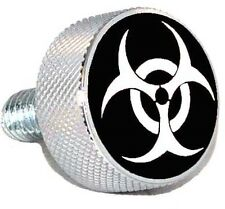 "Chrom Billet ""White Bio Hazard"" Knurled Air Cleaner Bolt for Harley Filter Cover"
