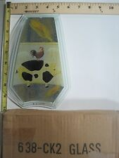FREE US SHIP OK Touch Lamp Replacement Glass Panel Pig Rooster Folk Art 638-CK2
