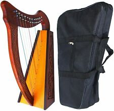 12 STRINGS BABY HARP + BAG Irish Celtic Style Knotwork Design