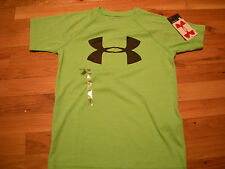 Brand New Boys Green & Black Under Armour Heat Gear Loose Fit Shirt Size M