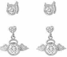 Betsey Johnson Mini CZ Angel & Devil Stud Earrings Set NWT $35