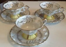Vintage Tea Cup and Saucer Perl with Silver and Yellow Designs Set of 3