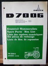 Deutz Schlepper D 7006 Ersatzteil-Liste