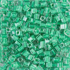 Miyuki Color Forrado Verde 4 mm cuadrados (cubo) semillas de vidrio granos 20 G Tubo (b87/6)