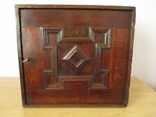 17TH CENTURY ANTIQUE GEOMETRIC OAK SPICE CABINET CUPBOARD 8 MINIATURE DRAWERS