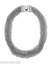 NEW-MICHAEL KORS SILVER BRILLIANCE MULTI-STRAND BEAD NECKLACE+TURN LOCK MKJ2205