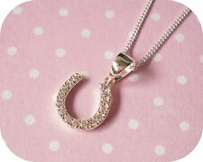 925 Sterling SILVER Cubic Zirconia CZ Horse Shoe Pendant Necklace ~ Gift Boxed