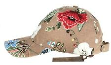 NEW GUCCI BEIGE CANVAS LEATHER FLORAL BUTTERFLY BALL CAP HAT L/LARGE
