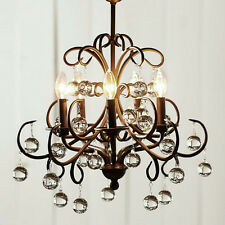 Wrought Iron and Crystal 5 light Chandelier Ceiling Light Lighting Fixture Lamp