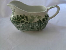 Grindley Transferware English Country Inns Green Gravy Boat