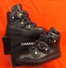 16P NIB CHANEL NAVY LEATHER CAMELLIA FLOWERS PEARLS CC LOGO HI TOP SNEAKERS 41.5