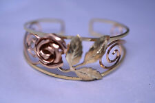VTG PROBST GOLD FILLED TWO-TONE OPENWORK CUFF BRACELET SCROLLS LEAVES & 3-D ROSE