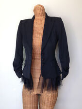laROK Black Mesh Ruffle Hem Blazer Dressy Wear to Work Jacket Womens XS 0