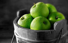 Framed Print - Black & White Bucket with Green Apples (Picture Poster Fruit Art)
