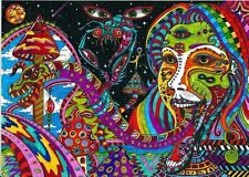 "Psychedelic Trippy Art Silk Cloth Poster 17"" x13"" Decor 52"