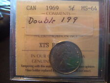 CANADA FIVE CENTS 1969 Double 199 ICCS MS-64!!!!