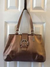 Coach Soho Leather Tote Bronze Metallic Handbag Purse F18751 $378 Authentic