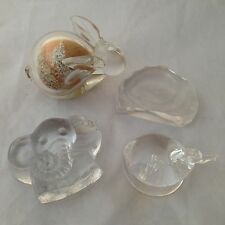 4 x Clear Glass Animal PAPERWEIGHTS -  Rabbit, Elephant, Duck & Seal - JOB LOT