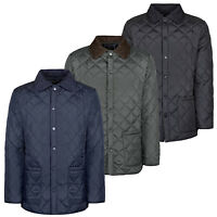 Soul Star Mens Diamond Quilted Jacket Padded Cord Patches Coat New