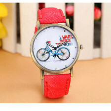 Fashion Women Geneva Watch Bicycle Pattern Leather Strap Analog Wrist Watches