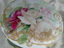 ANTIQUE HAND PAINTED FLORAL ROSES D&C FRANCE LIMOGES PORCELAIN LARGE DRESSER BOX
