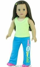 Love Yoga Pants+Rhinestone Top Doll Clothes Made For 18 in American Girl Dolls