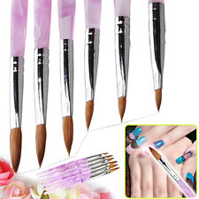 New 6 x Marble Sable Nail Art Acrylic Pen Brush Pink sizes 2 4 6 8 10 12