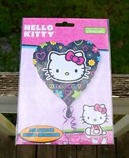 "Hello Kitty Foil Heart Balloon Sanrio 17"" Black Pink Bow Star Flower Valentine"