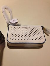 Coach Nolita Wristlet 19 In Perforated Leather - Silver/Chalk/Denim NWT- 53225
