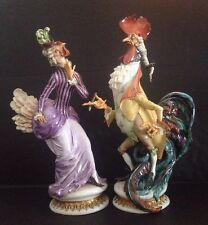 Pr Antique Meissen Dresden Style Porcelain  Rooster And Chicken Mint