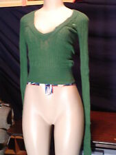 Junior's  Hollister Size XS Green Angora Vneck Cropped Sweater  EUC