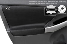 BLACK STICH 2X FRONT DOOR CARD TRIM COVERS FITS TOYOTA PRIUS 2010-2015